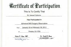 Dr.-Ismael-Cabrera-Garcia-Certificate-of-Participation-Advanced-MIS-Surgery-Observation