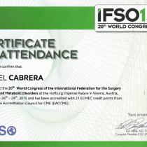 Dr. Ismael Cabrera Garcia – Certificate of Attendance IFS015 World Congress