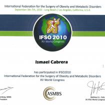 Dr. Ismael Cabrera Garcia – Certificate of Attendance IFS015 World Congress ASMBS