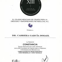 Dr. Ismael Cabrera Garcia – El Colegio Mexicano – La Presente Constancia Certification