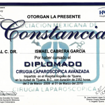 Dr. Ismael Cabrera Garcia – Otorgan La Presente Constancia – Diplomado Laparoscopic Surgery